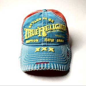 True Religion XXX Distressed Embroider Buddha Hat